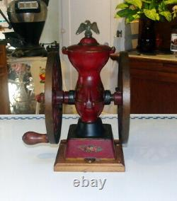 Antique Cast Iron Charles Parker No. 200 2 Wheel Coffee Grinder