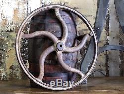 Antique Cast Iron Coffee Bean Mill Industrial Machine Wheel Grinder Wood Handle