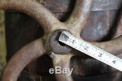 Antique Cast Iron Coffee Bean Mill Industrial Machine Wheel Grinder Wood Handle