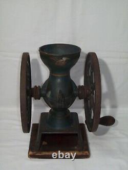 Antique Cast Iron Hand Crank Double Wheel Coffee Grinder Swift Mill