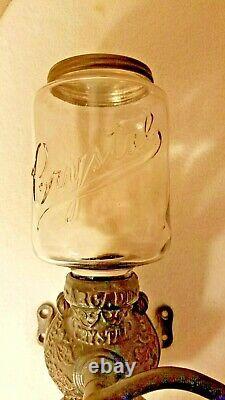 Antique Coffee Grinder Arcade Crystal Coffee Grinder MINT Condition