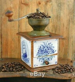 Antique Coffee Grinder DELFT BLUE tiles mill Moulin cafe Molinillo kaffeemuehle