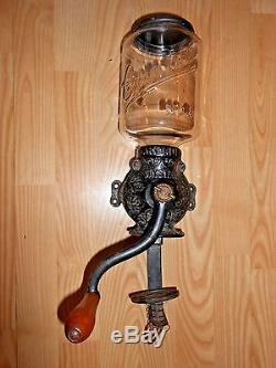 Antique Coffee Grinder Mill Crystal Arcade #3 Wall Mount All Original Glass Jar