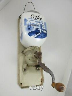 Antique Coffee Grinder Wall Mount Cast Iron H. T. Ges. Gesch. LORE Delft Germany