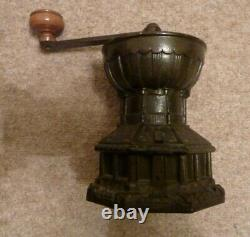 Antique Coffee Grinder by A K & Sons cast iron with original circular container