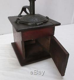 Antique Coffee Mill/Grinder Solid Wood Mahogany Box & Cast Iron Lid/Top (#6)