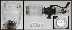 Antique Crystal Arcade #3 Wall Mount Coffee Grinder Mill w Orig Catch Cup Glass