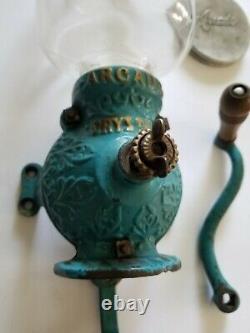 Antique Crystal Arcade No. 3 hand crank coffee grinder RARE original BLUE