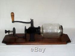 Antique Crystal Arcade No 4 Cast Iron Coffee Grinder Wall Mount Hand Crank Unit