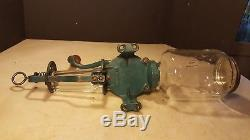 Antique Crystal No. 3 Wall Mount Coffee Mill Grinder With Glass- Nice 1