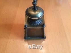 Antique Cylindrical Brass Coffee Grinder Mill
