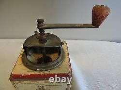Antique Distressed Wood Hand Crank Coffee Grinder
