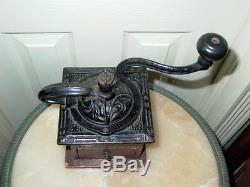 Antique Dovetail Wood & Cast Iron Coffee Grinder