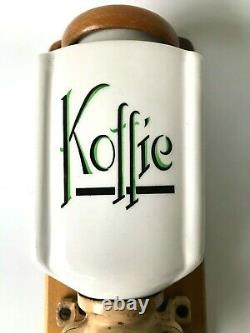 Antique Dutch B. C. Wall Mount Coffee Grinder Porcelaine Wood Metal Glass Koffie