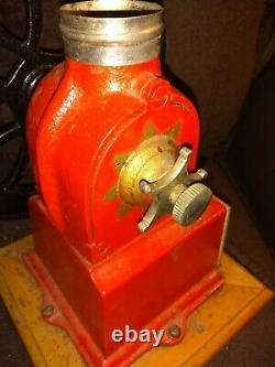 Antique Elma Cast Iron Coffee Grinder Mill Red/Black Works No cover for jar