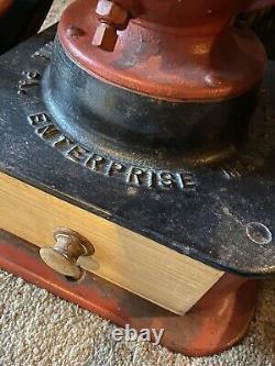 Antique Enterprise Coffee Grinder'73 Pat, 1873 20 1/2 table model heavy