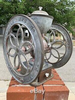 Antique Enterprise Coffee Grinder MASSIVE 19.5 Wheels Rustic WORKS GREAT