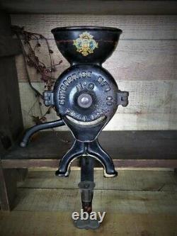 Antique Enterprise Coffee Mill Grinder No. 0 Philadelphia U. S. A Table Mount