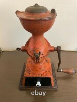 Antique Enterprise Mfg. Co. 1873 Orange Cast Iron Coffee Grinder