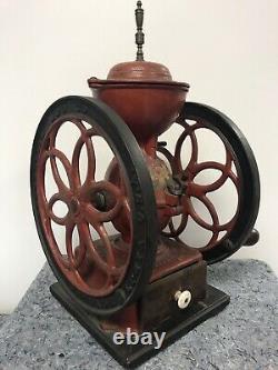Antique Enterprise Two Wheel Coffee Grinder Handle 17 Tall, 12 Wheels Pat 1873