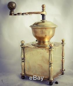 Antique European Brass Coffee Grinder Mill Moulin cafe Molinillo Kaffeemuehle