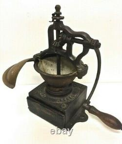 Antique French Coffee Grinder Peugeot Freres Bean Mill Cast Iron Wood Hand Crank
