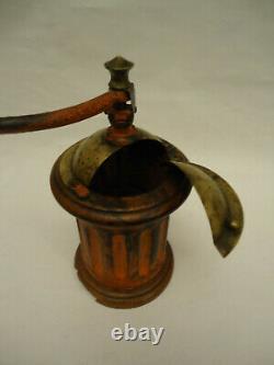 Antique French Peugeot Coffee Grinder Mill Model GN1 Orange Color Lion Arrow
