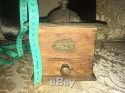 Antique French Peugeot Freres Valentigney Doubs Hand Mill Coffee Grinder Vintage