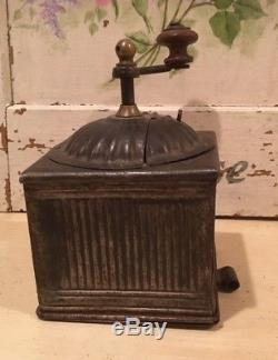 Antique French Ribbed Metal Napoleon III Coffee Mill Grinder Functional