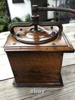 Antique French Walnut Coffee Grinder Mill By Peugeot Freres
