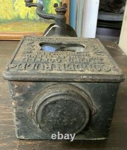 Antique Golden Rule Coffee Grinder Advertising Cast Iron Wall Mounted Wood