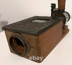 Antique Golden Rule coffee grinder wood cast iron Columbus Ohio and Glass