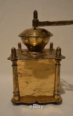 Antique Heavy Brass Coffee Mill Grinder Wood Knob & Box