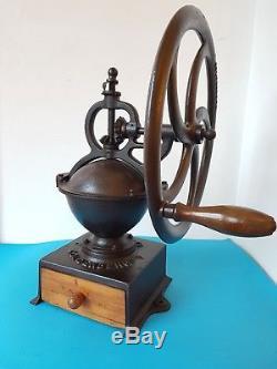 Antique Industrial Cast Iron Balance Wheel Coffee Grinder Goldenberg N. 2 Germany