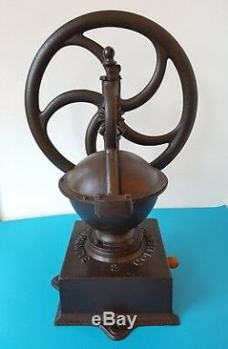 Antique Industrial Cast Iron Balance Wheel Coffee Grinder Goldenberg N. 2 Germany