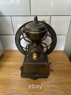 Antique JMF Single Wheel Cast Iron Coffee Mill Grinder