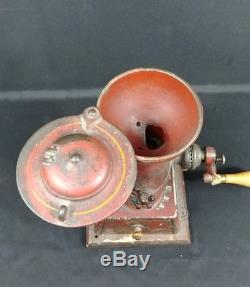 Antique Landers Frary & Clark Cast Iron Coffee Grinder with Base #11