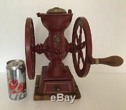 Antique Landers Frary & Clark Two Wheel Coffee Grinder Mill #20 Cast Iron