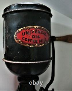 Antique Landers and Frary Universal 014 Wall Mount Coffee Mill Tin + Cast Iron