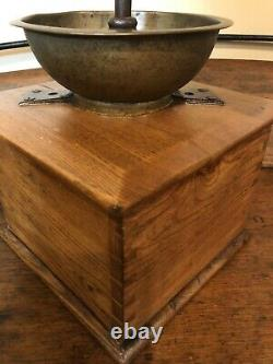 Antique Large Wooden Dovetailed Lap Held Coffee Grinder