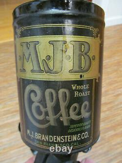 Antique MJB Vintage 1910's Wall Mounted Coffee Grinder Tin & Cast Iron