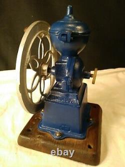 Antique MJF Patentado Coffee Grinder Mill Cast Iron Single Wheel BLUE FREE SHIP
