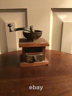 Antique Miniature Toy Salesman Sample Coffee Grinder Little Tot Cast Iron Wood
