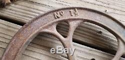 Antique No. 1 1/2 Cast Iron Hand Crank Corn Coffee Grain Grinder Barn Shanty