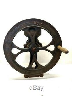 Antique No. 2 Cast Iron Coffee Mill Grain Grinder