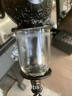 Antique No 3 Crystal Arcade Wall Mount Coffee Grinder With Catch Cup & Jar Lid