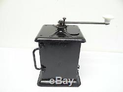 Antique Old Black Table Top Metal Coffee Grinder Restored Mill Used