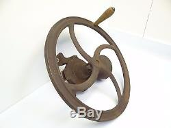Antique Old Cast Iron Metal H 101 105 Red Coffee Grinder Mill Kitchen Tool Used
