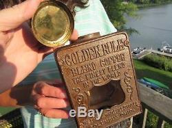 Antique Original Arcade Golden Rule Coffee Grinder MILL With Original Catch Cup