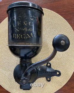 Antique Original Late 1800s L. F. & C Regal Iron/Tin Wall Mount Coffee Grinder